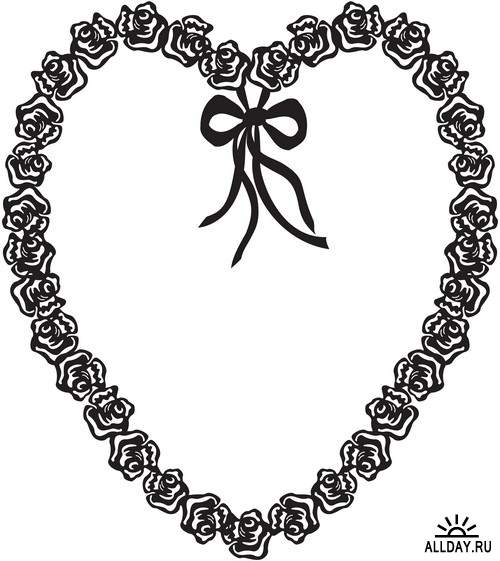 Hearts - graphic elements | Cердце и сердечки - графические элементы - Набор элементов дизайна для коллажей