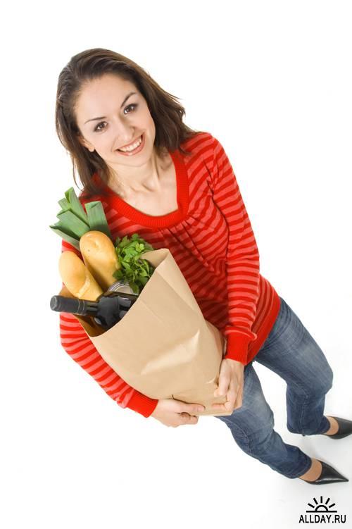 Люди с пакетами продуктов - Растровый клипарт   Peoples with grocery bag - UHQ Stock Photo