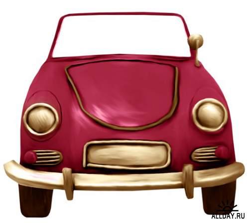 Симпатичные авто - клипарт на прозрачном фоне