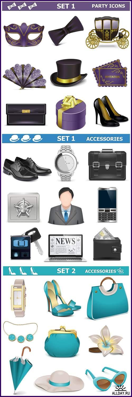 Vector Male & Female Accessories - Vektor photo/  Мужские и Женские аксессуары - Векторный клипарт