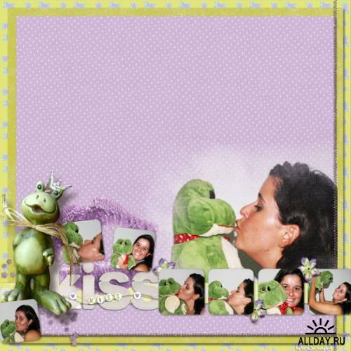 Скрап-набор Поцелуй маленького лягушонка  KISS ME LITTLE FROG