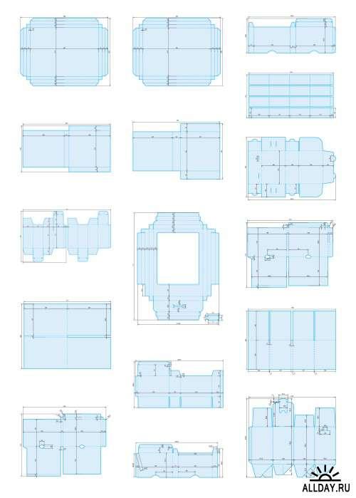 Чертежи вырубных штампов, ч. 1 (папки, клапаны, коробки)