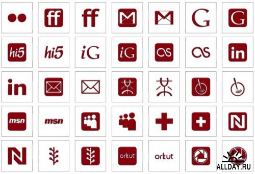 Simple Red Glossy Icons - 14 наборов