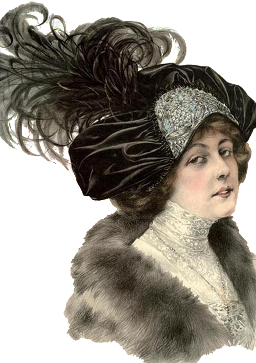 Girls in Hats Девушки в шляпках и головных уборах
