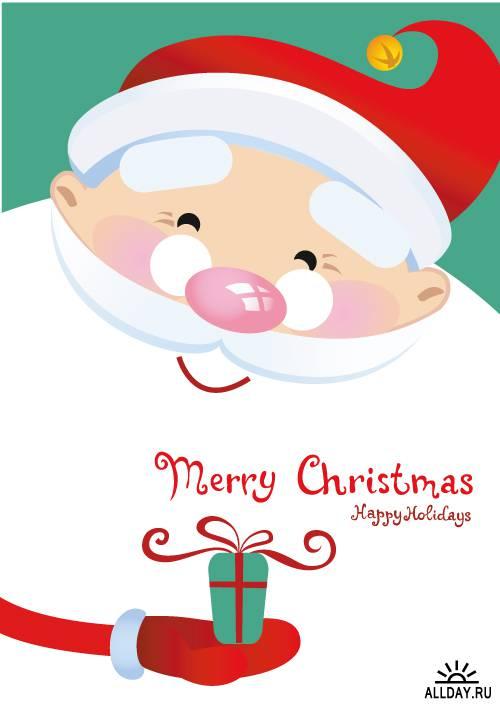 Новогодние и рождественские открытки с Дедом морозом