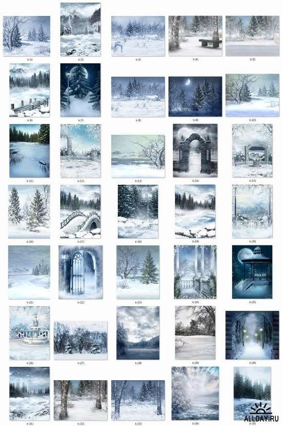 Зимние фоны для вашего творчества - Winter, snow backgrounds set 16