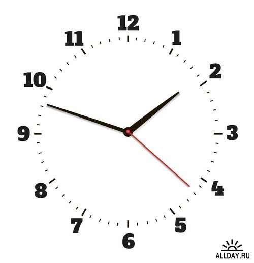 Время и часы в векторе    Time and clock in vector from stock - 25 Eps