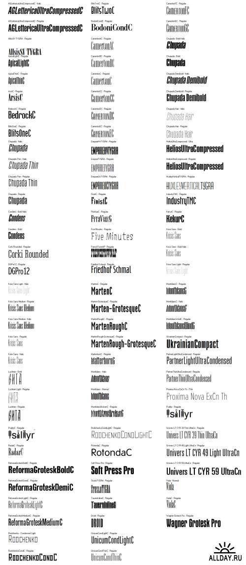 Ультра-компактные шрифты для заголовков и надписей