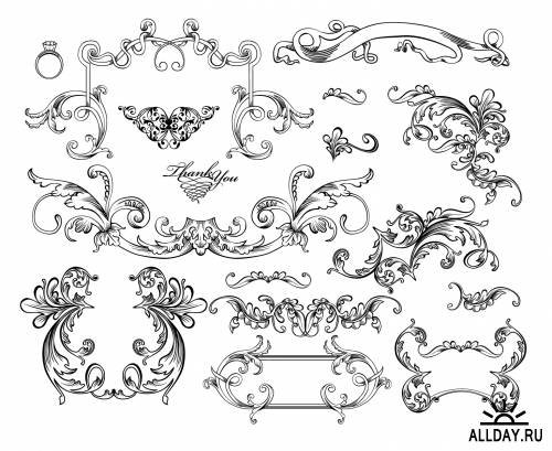 Decorative Ornaments Collection in Vector - part 1