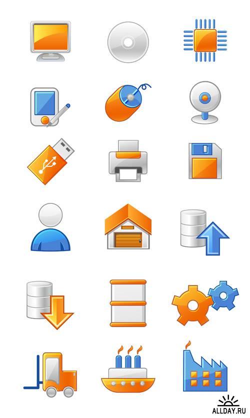 Сборник сине-оранжевых векторных иконок