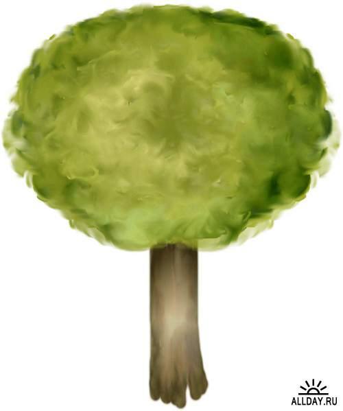 Tree and trees in different seasons | Дерево и деревья в разное время года - Набор элементов для коллажей