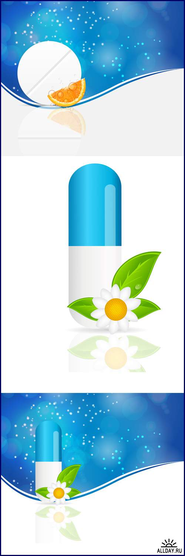 Herbal pill Environment background vector illustration - Vektor photo/ Фон травяных таблеток - векторный клипарт