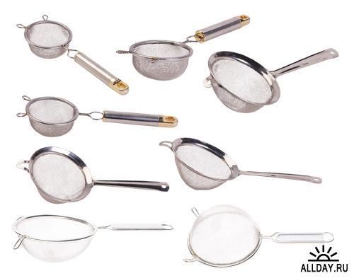 Кухонные принадлежности на прозрачном фоне