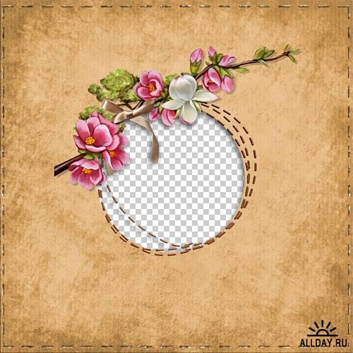 6 цветочных скрап-страничек