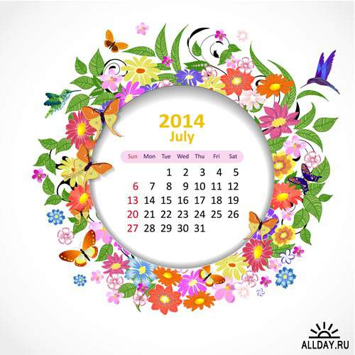 Календарные сетки 2014 #9 - Векторный клипарт