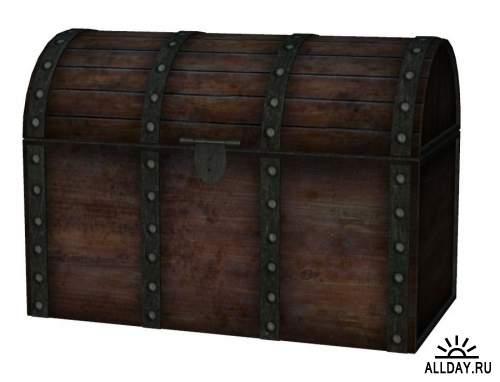 Dower chest, Footlocker and coffer 2 | Дорожный сундук, ларец и сундучок 2 - Набор элементов для коллажей