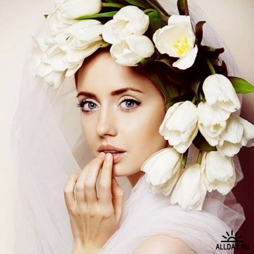 Невеста в белоснежном свадебном платье