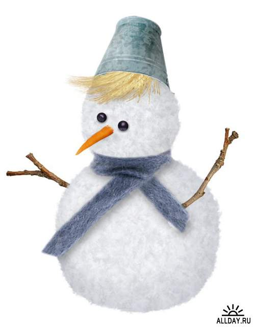 Милые и забавные снеговички - набор элементов для коллажей