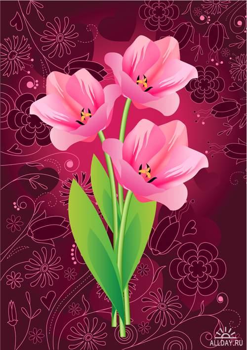 Прекрасные цветы - Векторный клипарт   Beautiful flowers - Stock Vectors