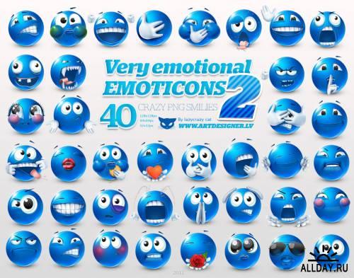 Очень эмоциональные синие смайлы / Very Emotional Emoticons