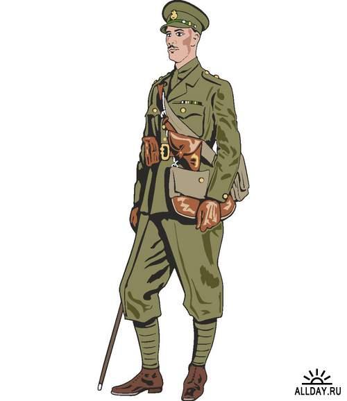 Солдаты и офицеры времен Второй Мировой Войны (вектор)