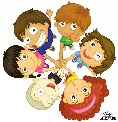 Funny cartoon boys and girls