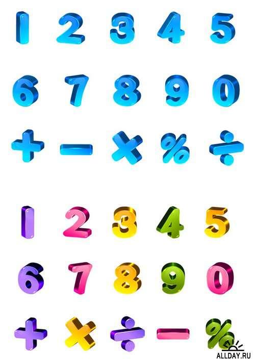 Color 3D Alphabets numbers, punctuation, symbols