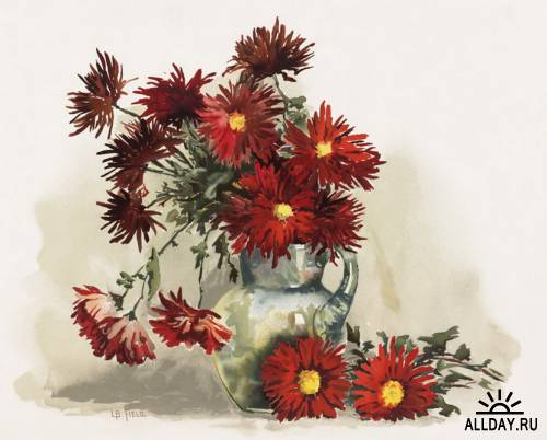 Винтажные цветы. Литография.