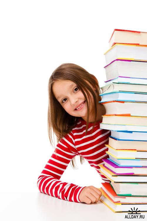 Школьницы с книгами - Растровый клипарт   Schoolgirl with books - UHQ Stock Photo