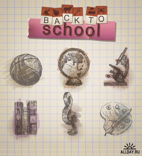 Hand-drawn school illustration