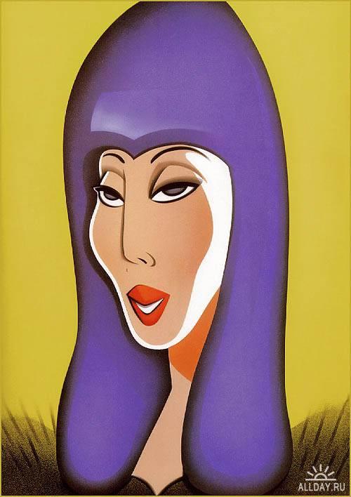 Карикатуры на знаменитостей Роберта Риско   Caricatures on Celebrity Robert Risko