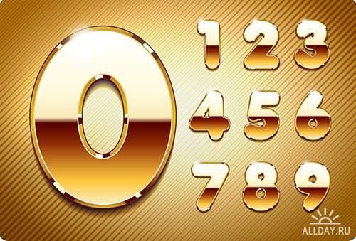 Хромовый и золотой алфавит в векторе
