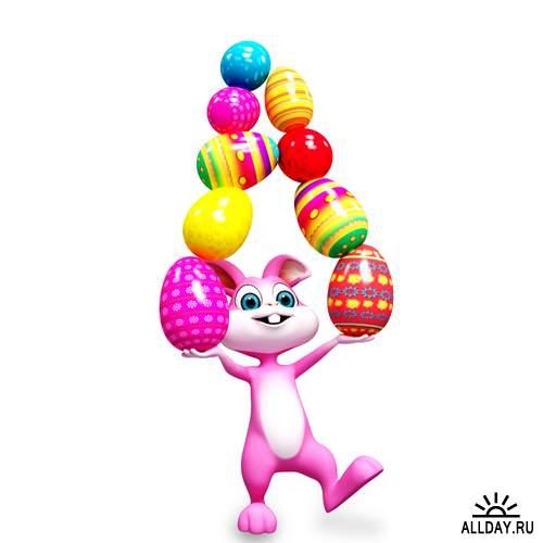 Пасхальный кролик - Растровый клипарт | Easter Rabbit 3D - UHQ Stock Photo
