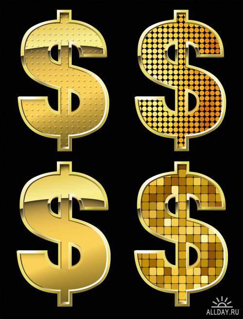Golden dollar sign - vector