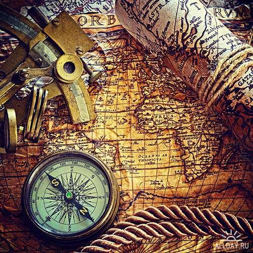 Растровый клипарт - Старые карты и компас