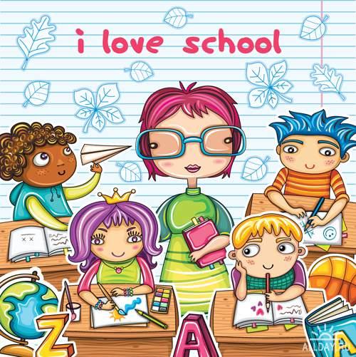 Школьные персонажи - Векторный клипарт | School cartoons - Stock Vectors