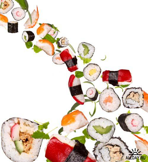 Pieces of sushi background