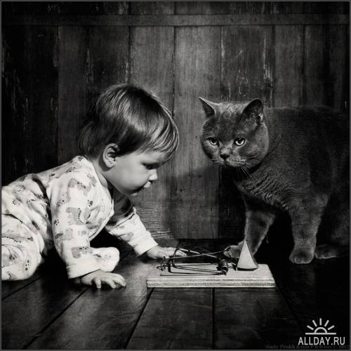 Фотосессия девочки и кота Тома, художник Andy Prokh