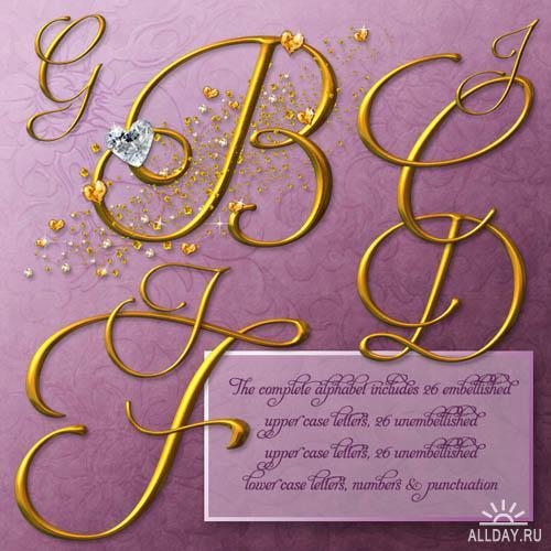 Wedding Gold Alphabet | Золотой алфавит с бриллиантами