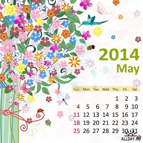 Календарные сетки 2014 #14 - Векторный клипарт