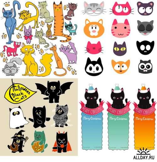 Векторный клипарт - Забавные кошки / Funny Cats