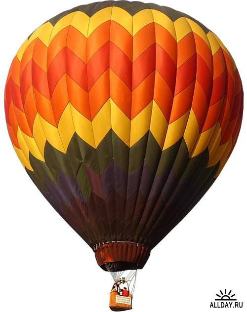 Монгольфьеры - воздушные шары на прозрачном фоне