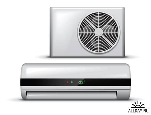 Векторные Иконки домашних бытовых приборов и кондиционеров -  Vector icons of Household appliance & air-conditioner