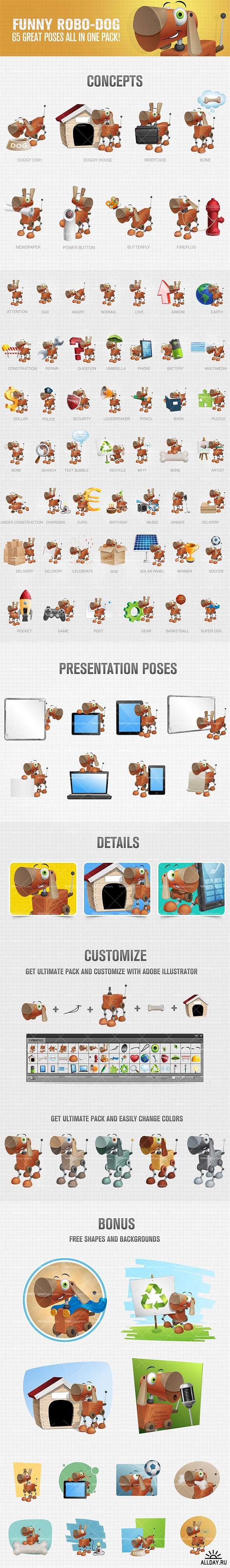 Funny Robo-Dog Cartoon Character