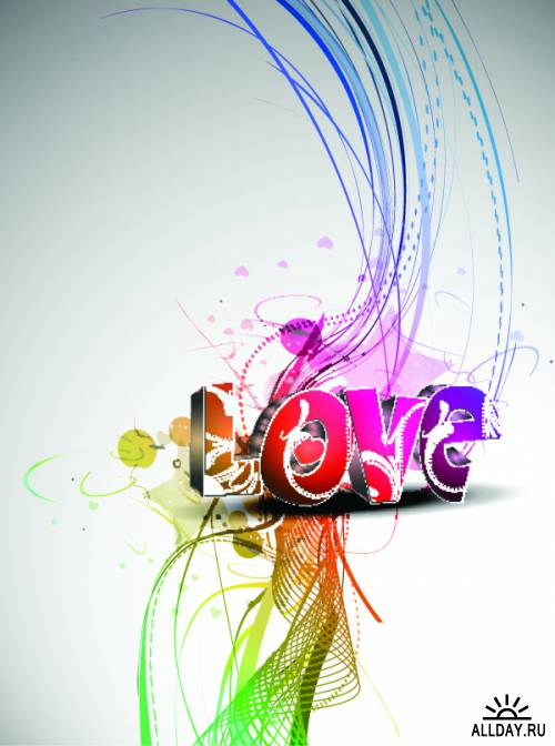 Cool three-dimensional art of the word love vector