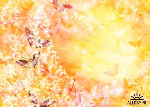 Цветочные фоны с Бабочками